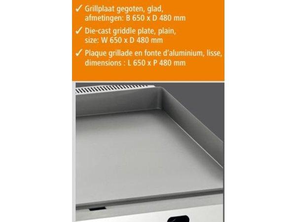 Bartscher Gas Grillplaat - Gietijzer/Glad - 66x60x(H)29,5 cm - 8 Kw