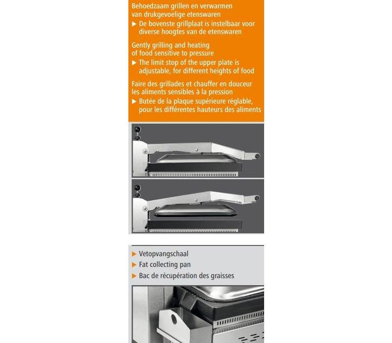 Bartscher Contactgrill VP3000   RVS   Regelbare Thermostaat   380x470x(H)240/550mm