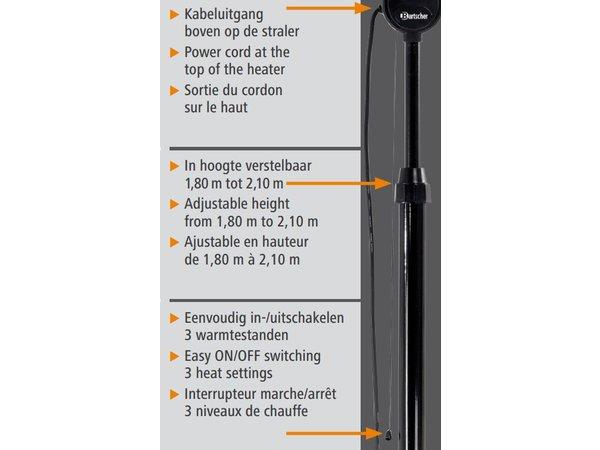 Bartscher Terrasverwarmer | Terrasheater 1800W | 230V | In hoogte Verstelbaar 1800 - 2100mm