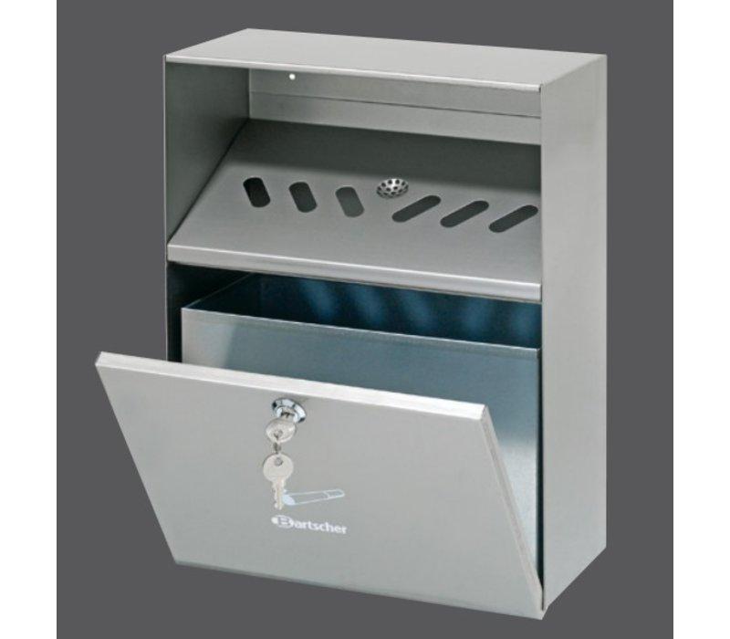 Bartscher Wall ashtray Stainless steel | 6.5 Liter | Easy to Legen | 280x140x (H) 373mm