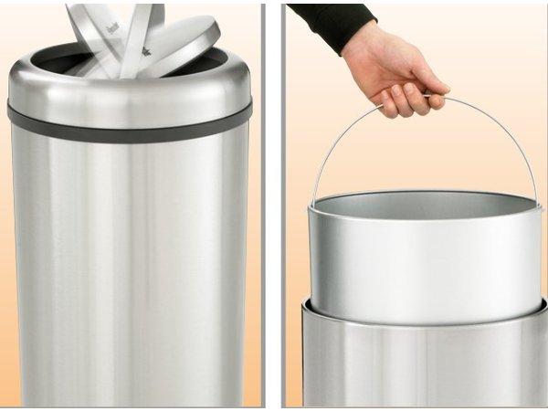 Bartscher Afvalemmer RVS voor Horeca - met Kanteldeksel - 75cm hoog - 50 liter