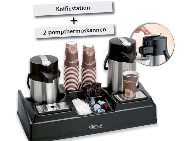 Bartscher Koffiestation inclusief 2 pompthermoskannen