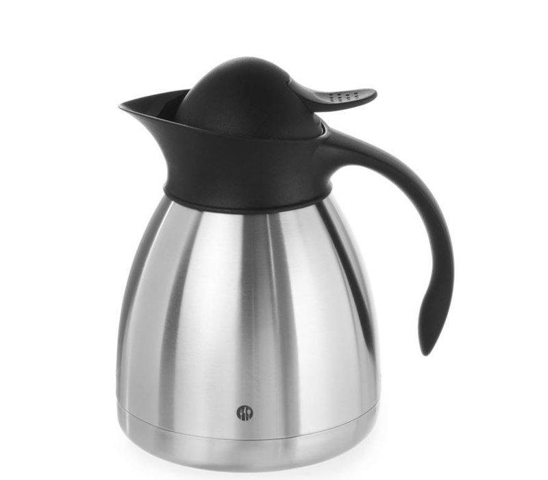 Hendi Thermoskan Dubbelwandig - RVS - 1 Liter - Zwarte Drukknop
