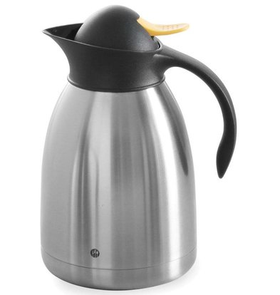 Hendi Double-walled stainless steel thermos - Yellow pressure cap - 1.5 l
