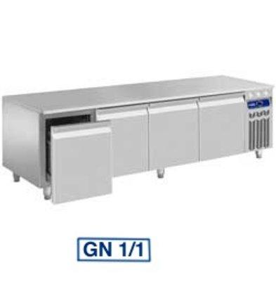 Diamond Werkbank Gekoeld - RVS - 4 Laden - 200x70x(h)63/65cm - 1/1 - DELUXE