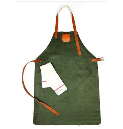 Witloft Leren Schort Witloft | Apron Regular Green / Cognac | WL-ARU-04 | Unisex | Large 85(L)x60(b)cm