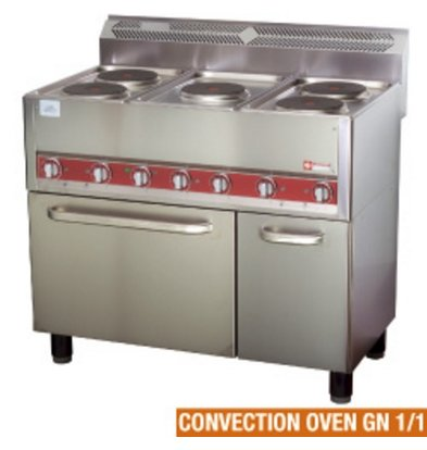 Diamond Horeca Stove | Electric 5 Cooking plates Convection Oven | 13kW | 990x600x860mm