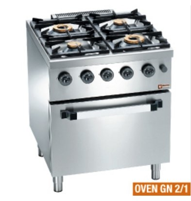 Diamond Horeca Fornuis   Gas   4 Branders   3,5 en 6kW   Gas Oven  700x700x(h)850mm