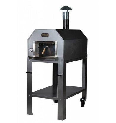 XXLselect Pizza Oven RVS 'Diamante' | Houtskool/Houtgestookt | 3-4 Pizza's | 500 °C | 700(l)x1000x(h)2030mm