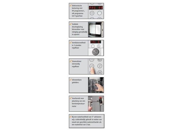 Bartscher Elektrische combi-steamer E 5230 tot 5 x 2/3 GN | 3,3KW | 230v | Digitaal