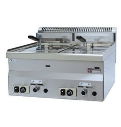 Diamond Gas Fryer | 2x8 Liter | tabletop | 13.6 Kw | 600x600x280 / 400 (h) mm