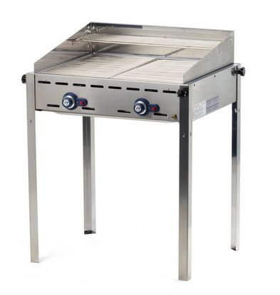 Hendi Gas Green Fire | 2 burners with Windscreen | 2 Stainless Steel Grill Roosters | 740x612x (h) 825 mm