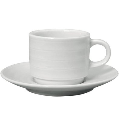 Intenzzo Espressokopje + Schotel | Intenzzo | Wit Porselein | 110ml | Per 4 Stuks