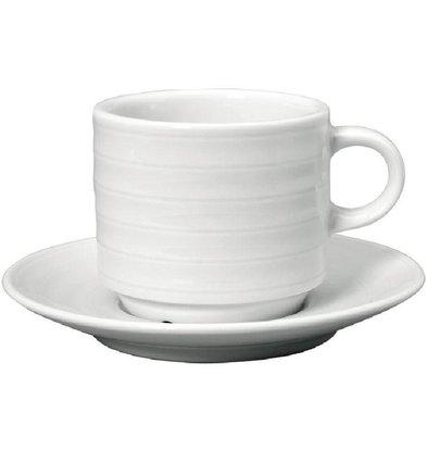 Intenzzo Cappuccinokopje + Schotel | Intenzzo | Wit Porselein | 150ml | Per 4 Stuks
