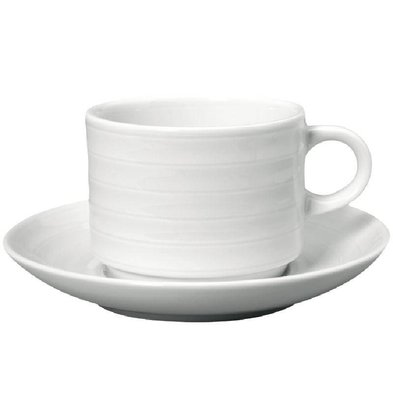 Intenzzo Koffiekop + Schotel | Intenzzo | Wit Porselein | 260ml | Per 4 Stuks