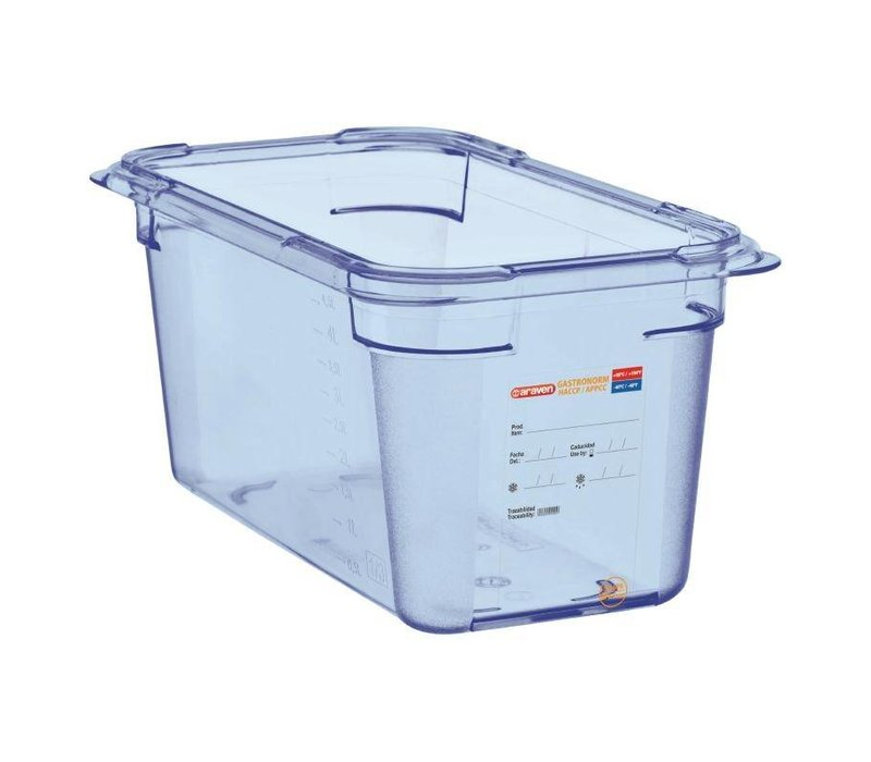 Araven Voedselcontainer Blauw ABS - GN1/4 | 150mm Diep