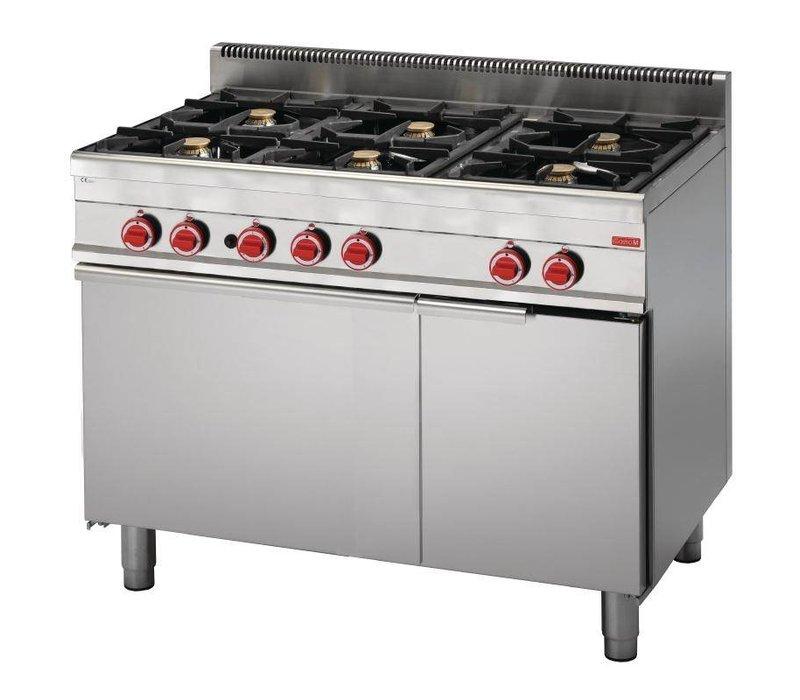 Gastro M Gasfornuis 6 Pits + Gas Oven | RVS | 30,8kW | 650x1100x850(h)mm