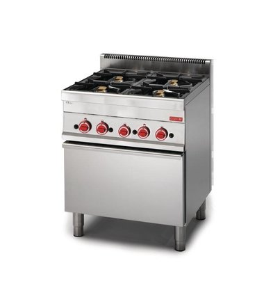 XXLselect Gasfornuis 4 Pits + Gas Oven   RVS   22,2kW   650x700x850(h)mm