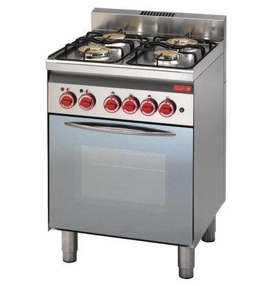 Gastro M Gasfornuis 4 Pits + Elektrische Oven + Grill   14,7kW/230V   600x600x850(h)mm