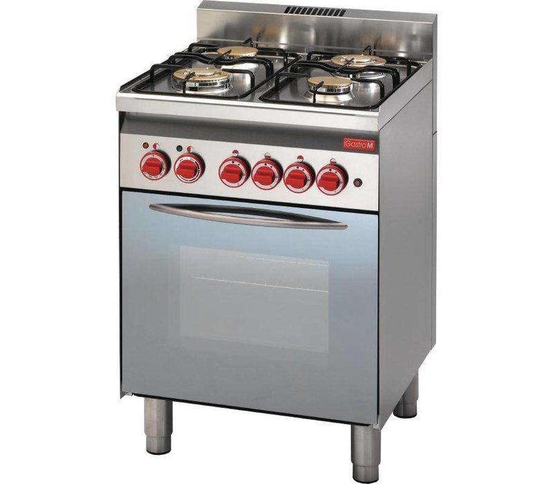 Gastro M Gasfornuis 4 Pits + Elektrische Oven + Grill | 14,7kW/230V | 600x600x850(h)mm