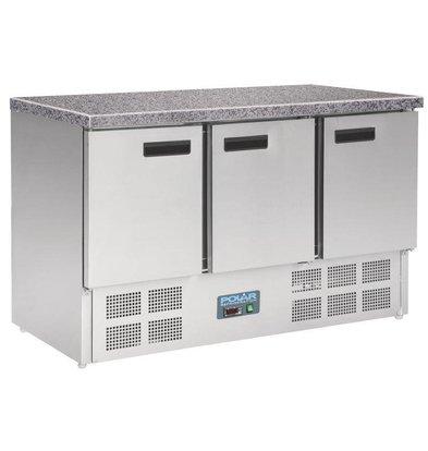 Polar Koelwerkbank RVS - 3 Deurs - Marmeren Werkblad - 700x1370x880(h)mm