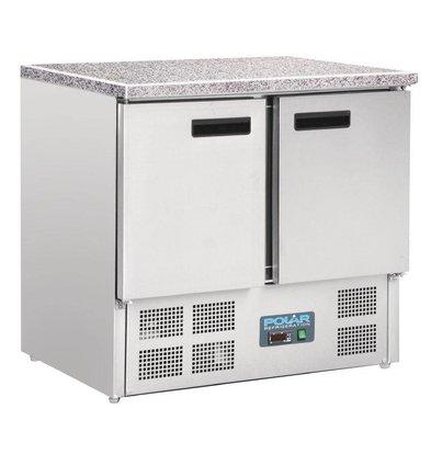 Polar Koelwerkbank RVS - 2 Deurs - Marmeren Werkblad - 700x900x890(h)mm