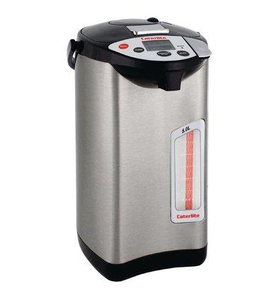Caterlite Heetwaterdispenser RVS | 5 Temperaturen | Elektrische Pompkan | Ø300mm | 5 Liter