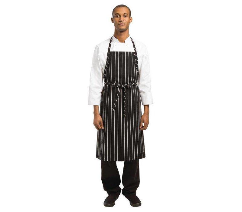 Chef Works Geweven Schort - Chef Works - Zwart/Wit Gestreept - 990(l)x940(b)mm