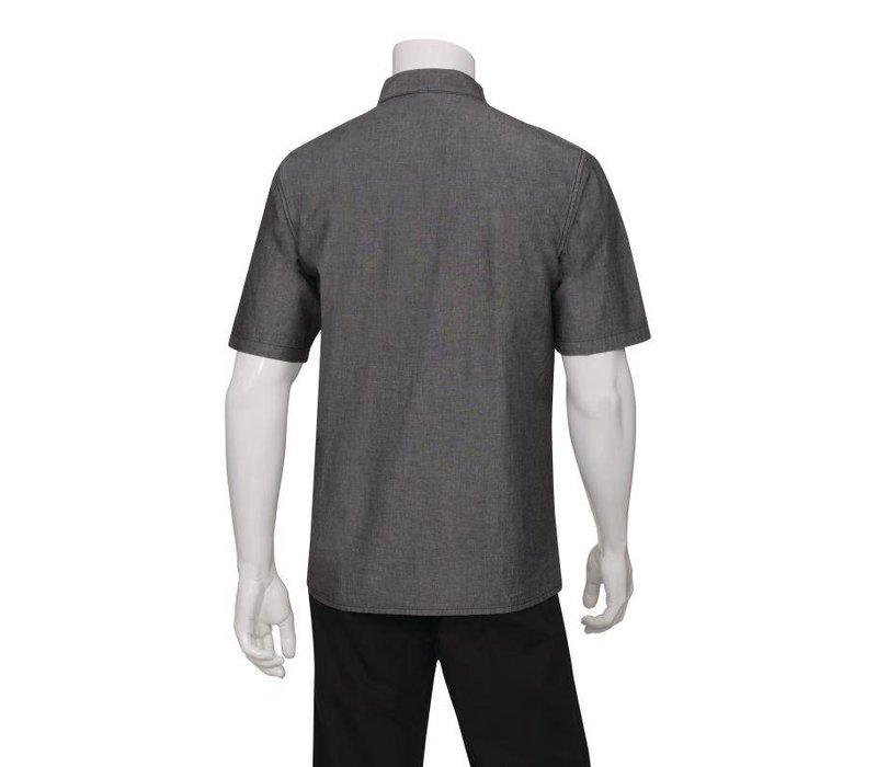 Chef Works Urban Chefworks Shirt Detroit - Denim Zwart - Korte Mouwen - Beschikbaar in 4 Maten - Heren