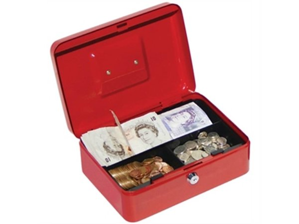 Phoenix Geldkistje Rood - 200x160x(h)70mm - met Kunststof Inzet - Ruimte voor Briefgeld