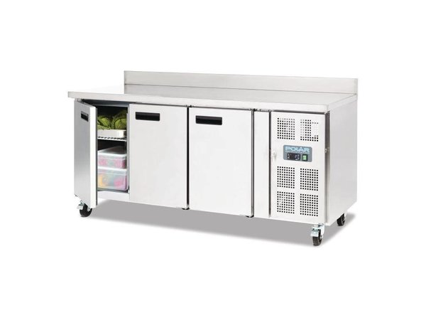 Polar Koelwerkbank - RVS - 3 deurs - 180x70x(h)95cm - 417 liter- Met Spatrand