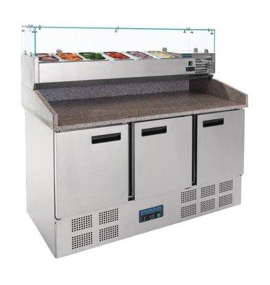 Polar Pizzawerkbank - RVS - 3 deurs - 140x70x(h)145cm - met 6x 1/4 GN en Glasopbouw