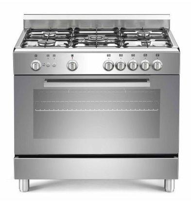 Saro Gasfornuis Zilver met 5 Pitten + Elektrische Oven + Grill 90 Liter | 900x600x(H)850mm