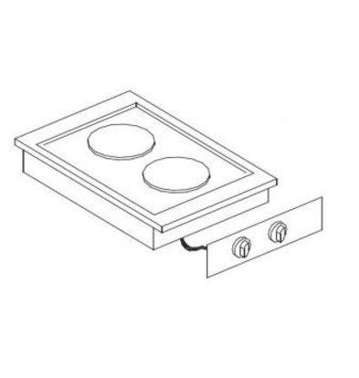 Combisteel Elektrische Kookunit | Drop-in | 2 Zones | 2x 2kW | 400x557mm