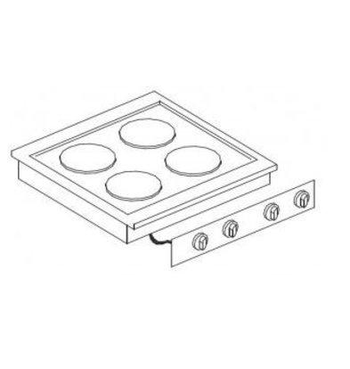 Combisteel Elektrische Kookunit | Drop-in | 4 Platen | 4x 2kW | 400V | 600x557mm