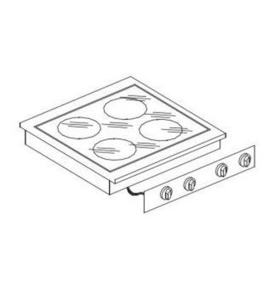 Combisteel Keramische Kookunit | Drop-in | 4 Zones | 1x 1,8 / 2x 3,5 / 1x 2,5kW | 400V | 557x600mm