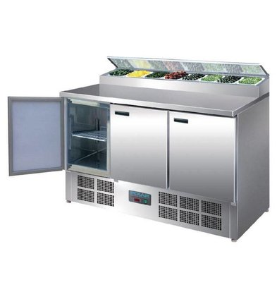 Polar Stainless steel Pizza / Sandwich Counter - 3-Door - 135x70x (h) 99cm