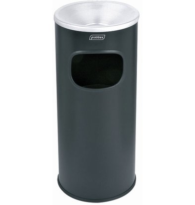 XXLselect Waste collector with ashtray Black | Inner bin 30 Liter | Flame retardant | 250x250x650mm