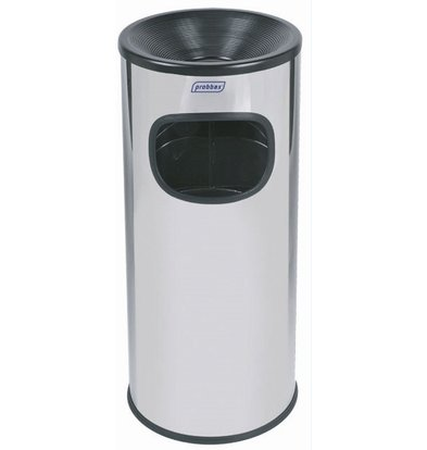 XXLselect Waste collector with ashtray | Polished stainless steel | Inner bin 30 Liter | 250x250x (H) 650 mm