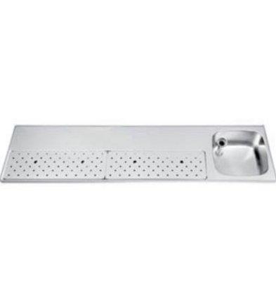 Gamko Stainless steel bar top + Sink Right | Gamko ST BB200R | Around Motif | 500x2000mm | STAR-Line