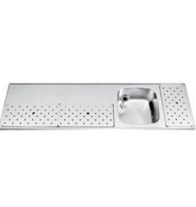 Gamko Stainless steel bar top + Sink Right | Gamko ST BB180R | Around Motif | 500x1800mm | STAR-Line
