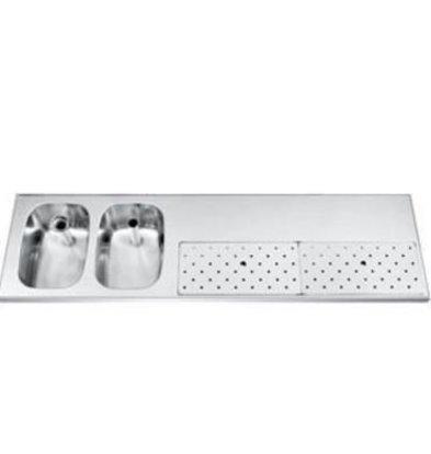 Gamko Stainless steel bar top + 2 sinks Links   Gamko ST BB1802L   Around Motif   500x1800mm   STAR-Line