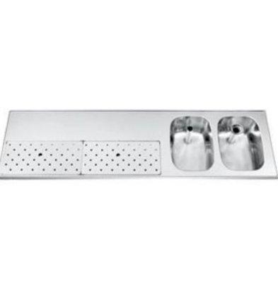 Gamko Stainless steel bar top + 2 sinks Right   Gamko ST BB1802R   Around Motif   500x1800mm   STAR-Line