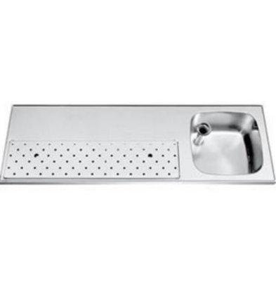 Gamko Stainless steel bar top + Sink Right | Gamko ST BB150R | Around Motif | 500x1500mm | STAR-Line