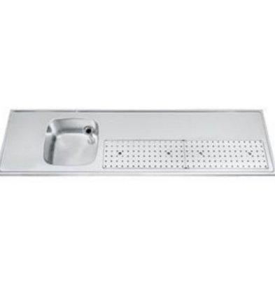 Gamko Buffet Journal stainless steel sink + Links | Gamko PR BB200LUM | Around Motif | 550x2000mm | PROFI-Line