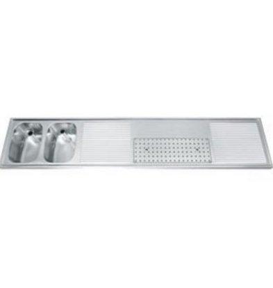 Gamko Buffet Journal RVS + 2 sinks Links   Gamko CO BB2502L   Cross Motif   500x2500mm   DRESSER