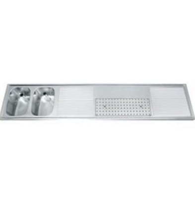 Gamko Buffetblad RVS + 2 Spoelbakken Links | Gamko CO-BB2502L | Kruis Motief | 500x2500mm | COMMODE