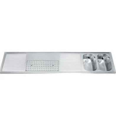 Gamko Buffet Journal RVS + 2 sinks Right   Gamko CO BB2502R   Cross Motif   500x2500mm   DRESSER