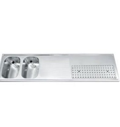 Gamko Buffetblad RVS + 2 Spoelbakken Links | Gamko CO-BB2002L | Kruis Motief | 500x2000mm | COMMODE