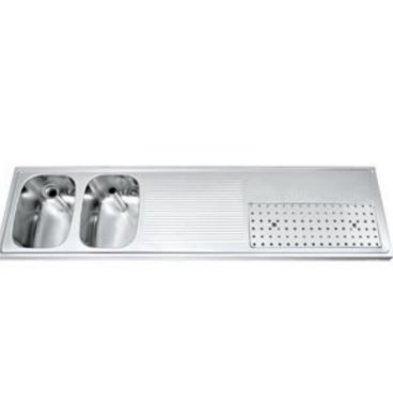 Gamko Buffetblad RVS + 2 Spoelbakken Links | Gamko CO-BB1802L | Kruis Motief | 500x1800mm | COMMODE